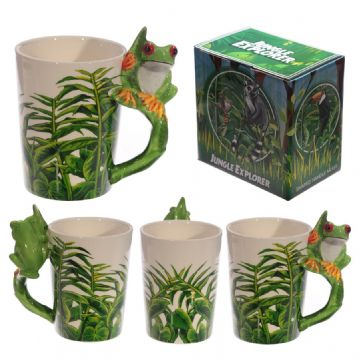Tree Frog Shaped Handle Mug